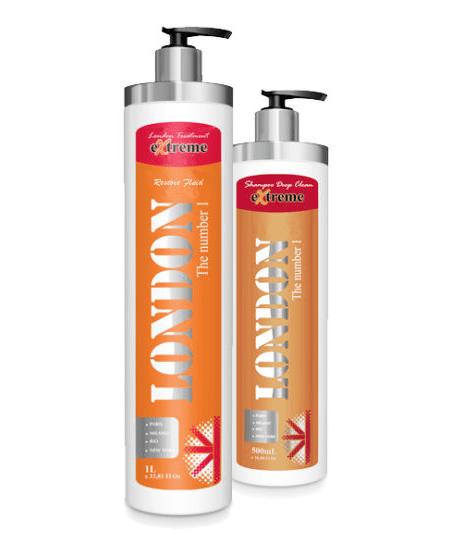 London Extreme Fluído Restaurador 1 L + Shampoo Deep Clean 500 ml