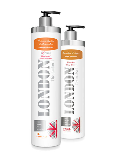 London Primer Fluído Restaurador Extreme 1 L + Shampoo Deep Clean 500 ml