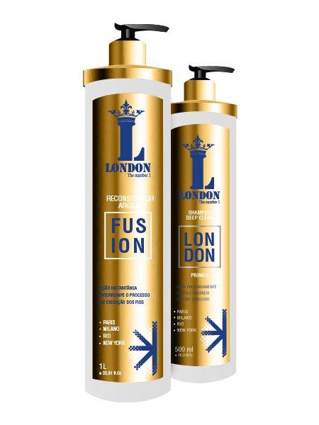 London Fusion Reconstrutor de Argila com parabeno 1 L  + Shampoo Deep Clean 500 ml